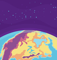 cartoon cosmic background with earth planet
