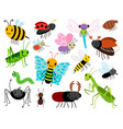 cartoon insects cute insect collection vector image vector image