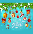 christmas garland with gift and bell greeting card vector image