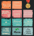 Collection of eco and bio labels retro design vector image vector image