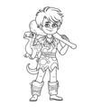 cute boy in a suit prehistoric man dinosaur toy vector image vector image