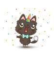 cute cat with unicorn horn vector image vector image