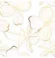 dogwood branch with golden line flowers seamless vector image