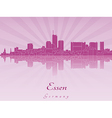 Essen skyline in purple radiant orchid vector image vector image