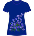 floral print on a t-shirt cornflowers blue vector image vector image