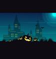 halloween castle and pumpkin background vector image vector image