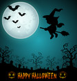 halloween night background with flying little girl vector image