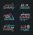 happy birthday hand lettering collection vector image vector image