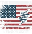 Happy Memorial Day USA grunge Flag Background vector image vector image