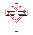 intertwining of the heart and christian cross vector image