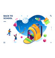 isometric banner for school smartphone application vector image