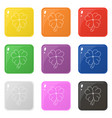 line style clover icons set 9 colors isolated on vector image vector image