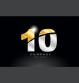 number 10 gold silver grey metal on black vector image vector image