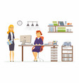 office discussion - modern cartoon business vector image vector image