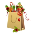 paper bag full of christmas balls vector image
