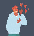 pink heartshape glasses and heart around man vector image vector image