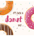 Poster design with colorful glossy tasty donuts vector image