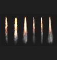 realistic rocket or comet fire smoke trails vector image
