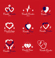 red hearts created with ecg chart and circulation vector image