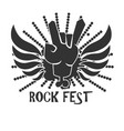rock fest icon logo design in black and white vector image vector image