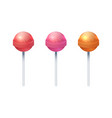 round sweet lolly candies realistic lollipop set vector image vector image