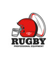 rugsport icon with ball and scrum cap or helmet vector image vector image