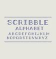 scribble volume font alphabet vector image