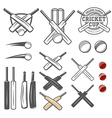 set cricket team emblem design elements vector image vector image