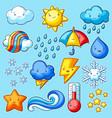 set cute kawaii weather items funny seasonal vector image vector image