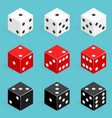 set isometric dice combination red white and vector image