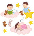 set of isolated babies on cloud and star vector image vector image