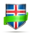 Shield with flag Iceland and ribbon vector image vector image