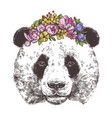 sketch giant panda with flower wreath vector image vector image