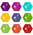 stork icon set color hexahedron vector image vector image
