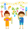 tanabata cartoon set vector image vector image