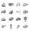 Transport icons set black monochrome style vector image vector image