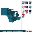 upper midwest of united states vector image vector image