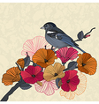 Vintage of a bird with flowers vector image vector image