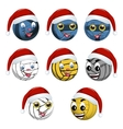 Volleyball ball in the hat of Santa Claus vector image