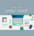 working place office desk concept in flat design vector image vector image
