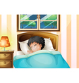 A boy sleeping soundly in his room vector image