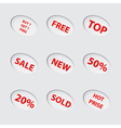 Collection of red sale icons vector image