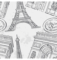 Seamless texture with the Eiffel Tower vector image