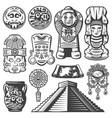 vintage monochrome maya elements set vector image