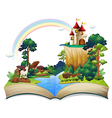 A book with a castle at the forest vector image vector image