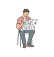 a man or guy in cassual wear reading newspaper vector image