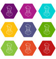 ancient ionic pillar icons set 9 vector image