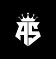 as logo monogram shield shape with crown design vector image vector image