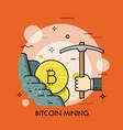 bitcoin mining thin line concept vector image