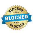 blocked round isolated gold badge vector image vector image